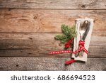 christmas table place setting... | Shutterstock . vector #686694523