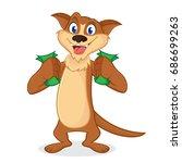 weasel cartoon mascot holding... | Shutterstock .eps vector #686699263