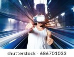 virtual reality glasses using... | Shutterstock . vector #686701033