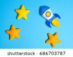 rocket takes off. space ship... | Shutterstock . vector #686703787