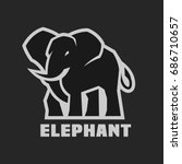 elephant. monochrome logo on a...   Shutterstock .eps vector #686710657