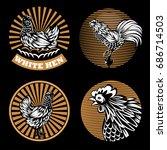 set of agricultural emblems on... | Shutterstock .eps vector #686714503