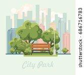 city park vector illustration... | Shutterstock .eps vector #686716783