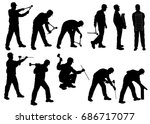 vector silhouettes of builder... | Shutterstock .eps vector #686717077