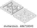 impossible figures  line and...   Shutterstock .eps vector #686718343