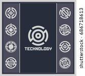 abstract technology background. ... | Shutterstock .eps vector #686718613