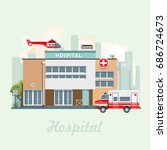 hospital building vector... | Shutterstock .eps vector #686724673