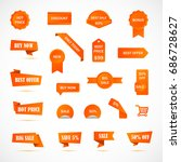 vector stickers  price tag ... | Shutterstock .eps vector #686728627