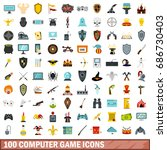 100 computer game icons set in... | Shutterstock . vector #686730403