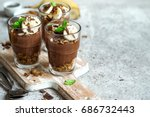 chocolate pudding with chia and ... | Shutterstock . vector #686732443