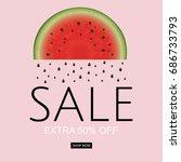 watermelon sale poster | Shutterstock . vector #686733793