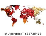 double exposure of world map... | Shutterstock . vector #686735413