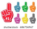 foam finger set. sports... | Shutterstock .eps vector #686736967
