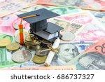 black graduation cap   hat  a... | Shutterstock . vector #686737327