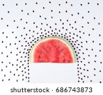 top view of watermelon isolated ... | Shutterstock . vector #686743873