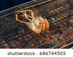 charcoal grilled river prawn in ... | Shutterstock . vector #686744503
