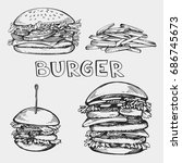vector set of sketch burgers | Shutterstock .eps vector #686745673
