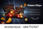 potato chips ads. vector... | Shutterstock .eps vector #686751967