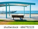 bench on the sea promenade in... | Shutterstock . vector #686752123