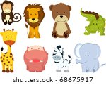 Stock vector a vector illustration of different wild animals cartoons 68675917