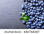 fresh blueberries with leaf on... | Shutterstock . vector #686768287