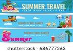 set of vector summer travel...   Shutterstock .eps vector #686777263
