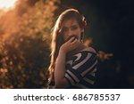 Posh Young Girl Wearing Stripe...