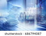 stacks of coins on banking... | Shutterstock . vector #686794087