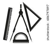 ruler  compasses  goniometer... | Shutterstock .eps vector #686797897