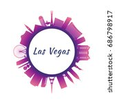 Stock vector silhouette las vegas skyline with colorful buildings circle style vector illustration 686798917