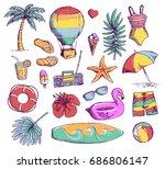 set of bright summer doodle... | Shutterstock .eps vector #686806147