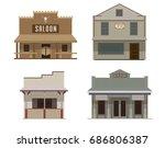 set of wild west western vector ... | Shutterstock .eps vector #686806387