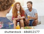 positive youngsters meeting... | Shutterstock . vector #686812177