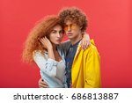 love and romance. waist up...   Shutterstock . vector #686813887