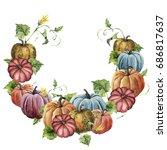 watercolor autumn wreath with...   Shutterstock . vector #686817637