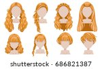 blonde hair of woman  modern... | Shutterstock .eps vector #686821387