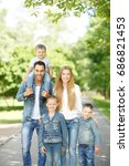 healthy positive young family... | Shutterstock . vector #686821453