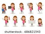 little girl different pose ... | Shutterstock .eps vector #686821543