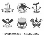 bbq. set of grill and barbecue... | Shutterstock .eps vector #686822857