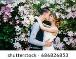 stylish happy bride with...   Shutterstock . vector #686826853