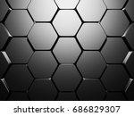 shiny hexagon pattern dark...   Shutterstock . vector #686829307