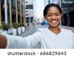 close up   beautiful positive... | Shutterstock . vector #686829643