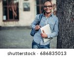 young afro american student is... | Shutterstock . vector #686835013