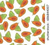 papaya seamless pattern. vector ... | Shutterstock .eps vector #686844007