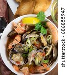 seafood stew with clams and... | Shutterstock . vector #686855947