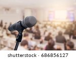 microphone over the blurred... | Shutterstock . vector #686856127