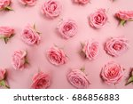 background image of pink roses. ... | Shutterstock . vector #686856883