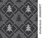 winter seamless knitted pattern ... | Shutterstock .eps vector #686860897