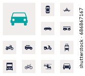 set of 12 transport icons set... | Shutterstock .eps vector #686867167