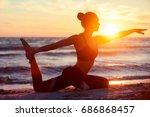 caucasian fitness woman... | Shutterstock . vector #686868457